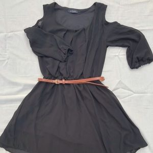Black eclipse Dress with waist belt.
